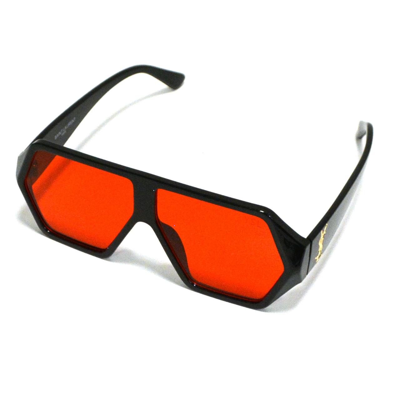Солнцезащитные очки с красными стеклами с широкой черной дужкой YSL 3010 - фото 6