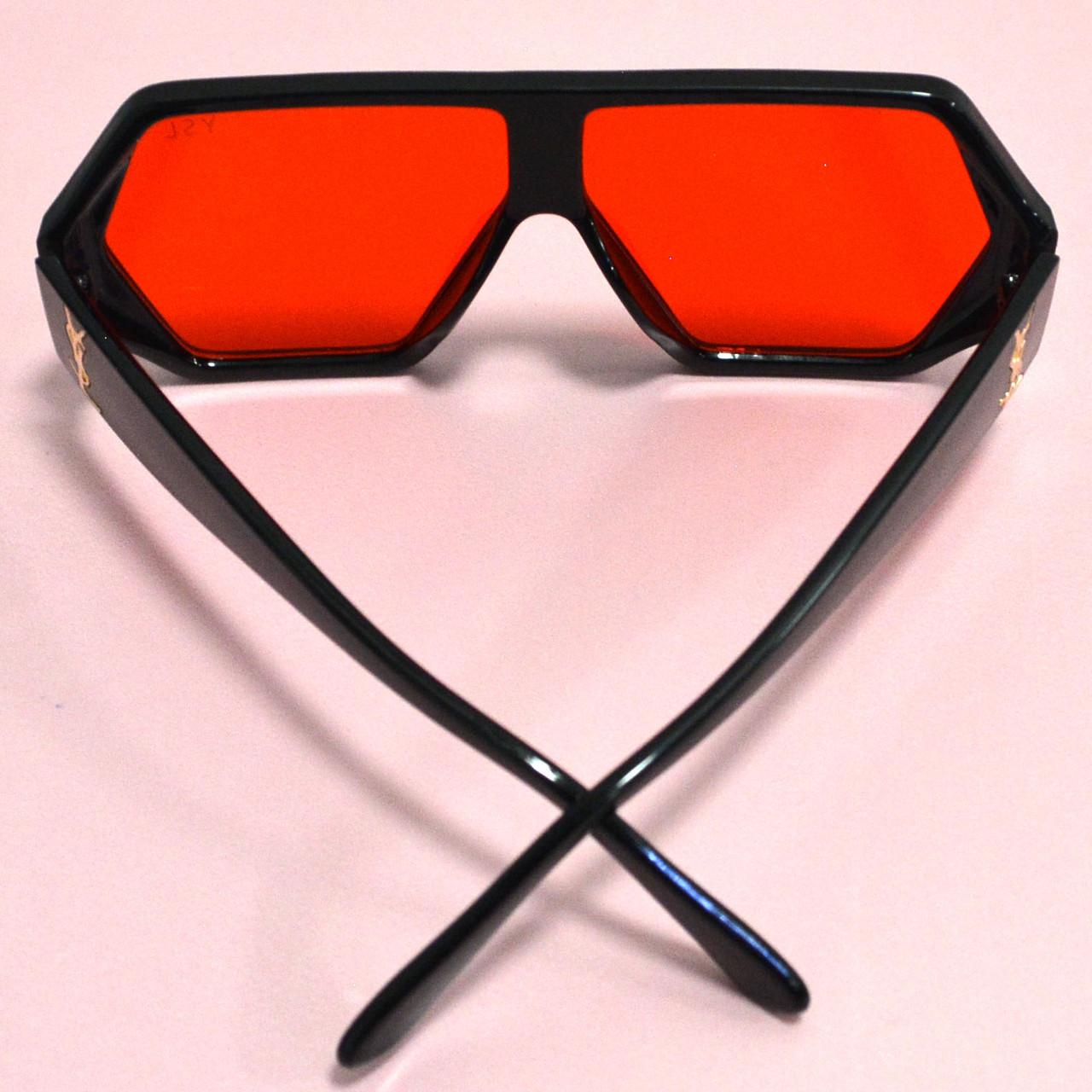 Солнцезащитные очки с красными стеклами с широкой черной дужкой YSL 3010 - фото 7