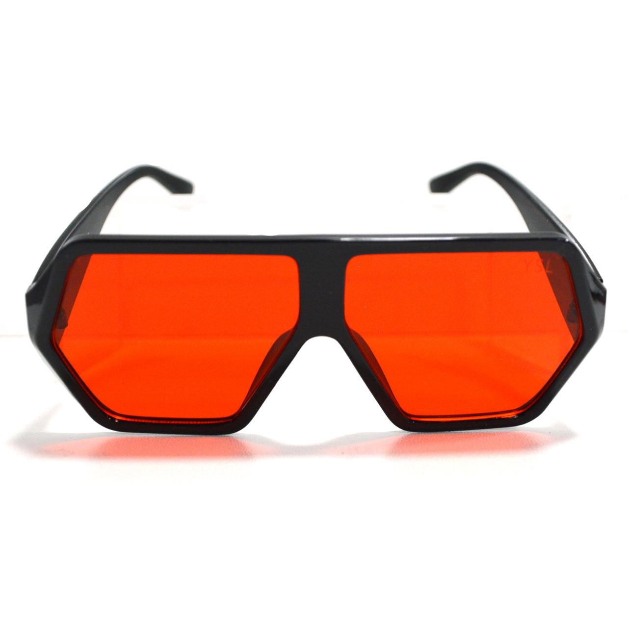 Солнцезащитные очки с красными стеклами с широкой черной дужкой YSL 3010 - фото 8