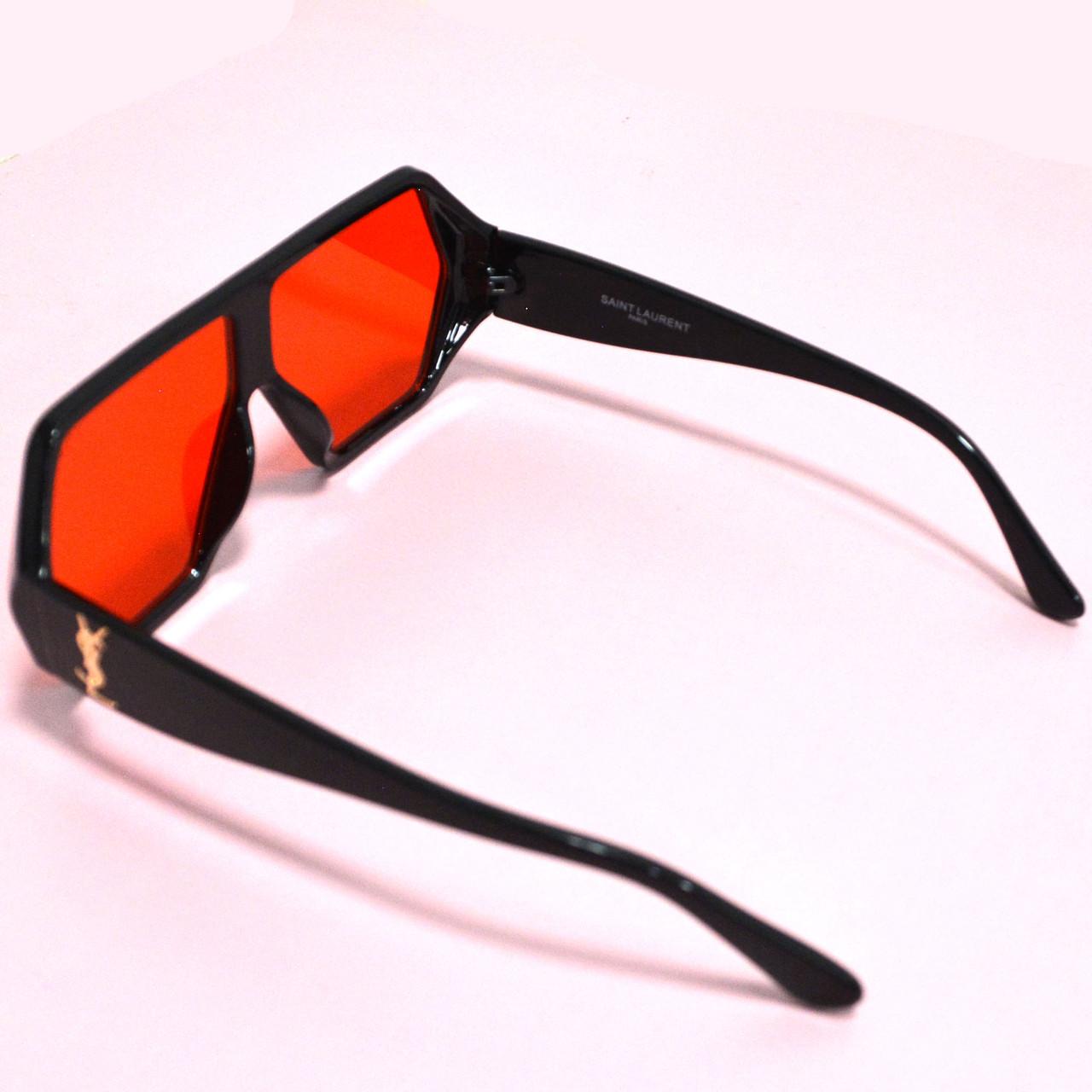 Солнцезащитные очки с красными стеклами с широкой черной дужкой YSL 3010 - фото 9