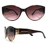 Солнцезащитные очки с коричневыми стеклами с широкой коричневой дужкой Balenciaga 2125