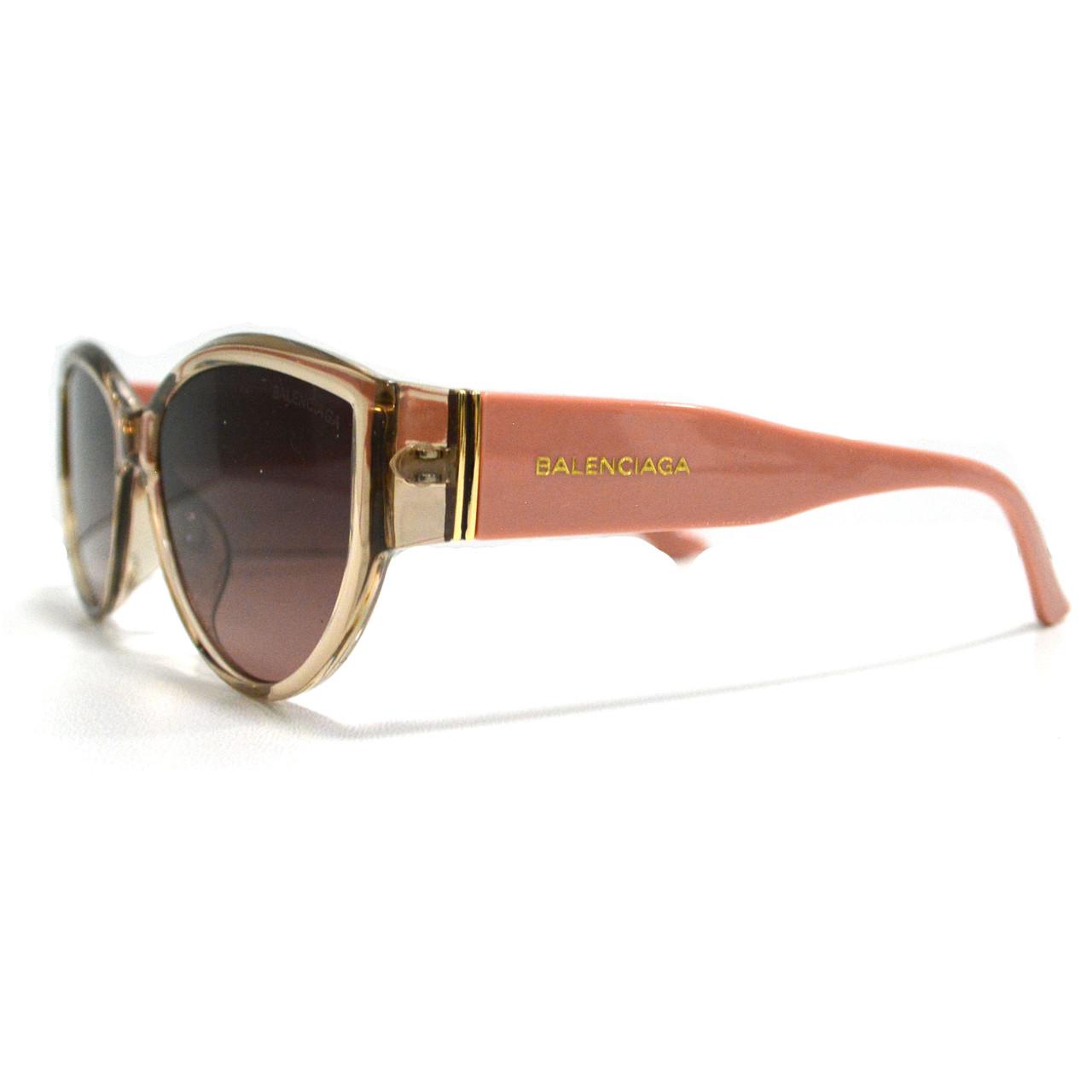 Солнцезащитные очки с коричневыми стеклами с широкой розовой дужкой Balenciaga 2125 - фото 3