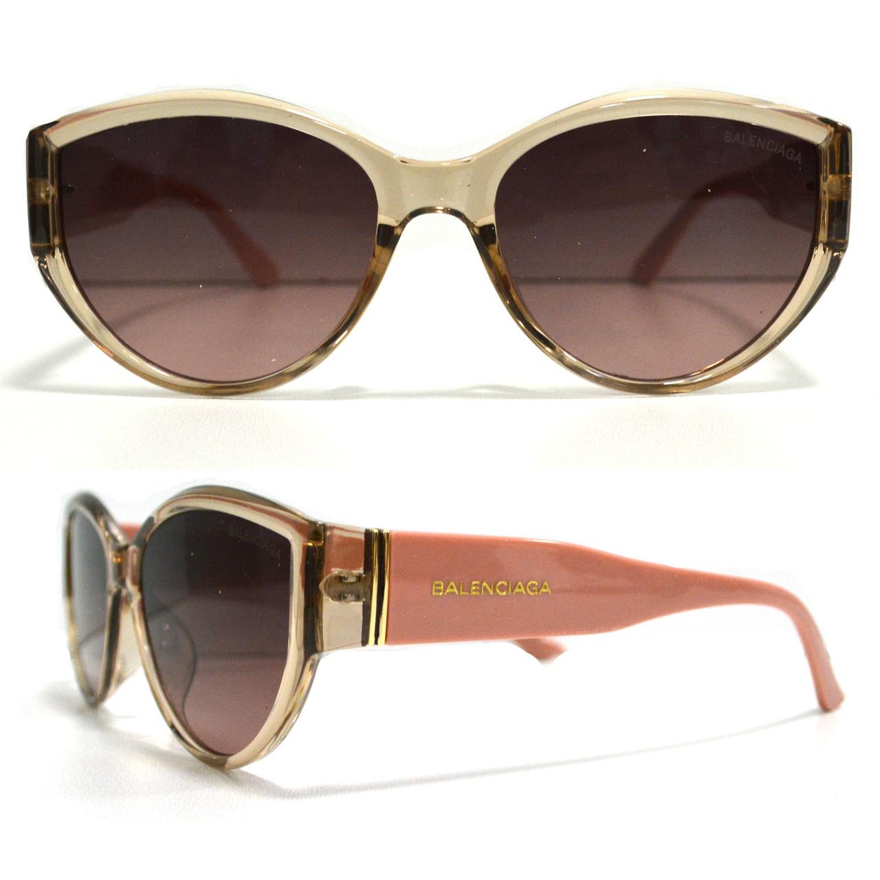 Солнцезащитные очки с коричневыми стеклами с широкой розовой дужкой Balenciaga 2125 - фото 1