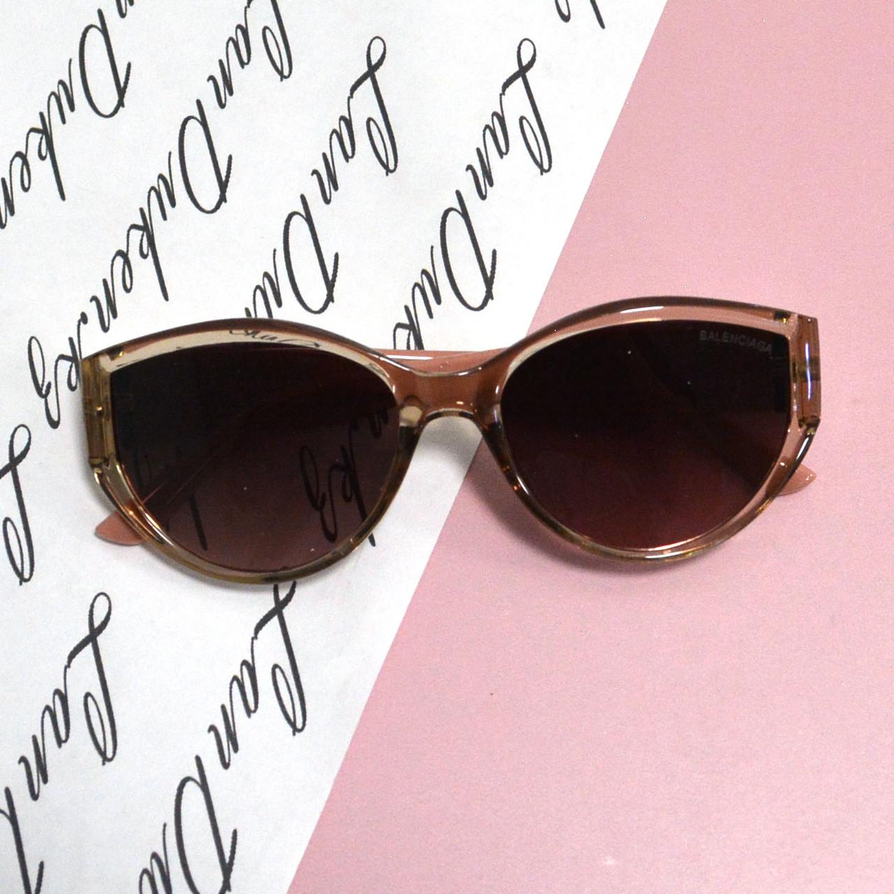 Солнцезащитные очки с коричневыми стеклами с широкой розовой дужкой Balenciaga 2125 - фото 6