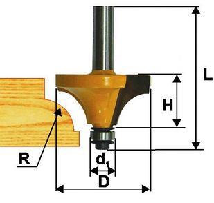 Фреза кром калевочная ф25,4х13мм R6,3мм хв 8мм