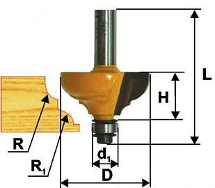 Фреза кром калевочная ф33,3х16мм R6,4мм хв 8мм