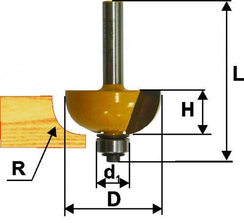 Фреза кром калевочная ф22,2х13мм R4,8мм хв 8мм