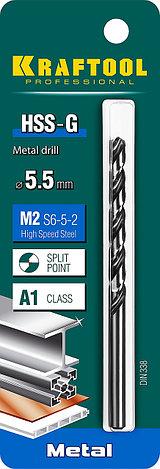 Сверло по металлу HSS-G, сталь М2(S6-5-2), KRAFTOOL HSS-G 5.5 х93мм, фото 2
