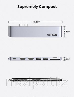 Адаптер Ugreen 7в1 с двойным usb-c разъемом для MacBook Pro/Air 2021,2020,2019,2018 года, фото 2