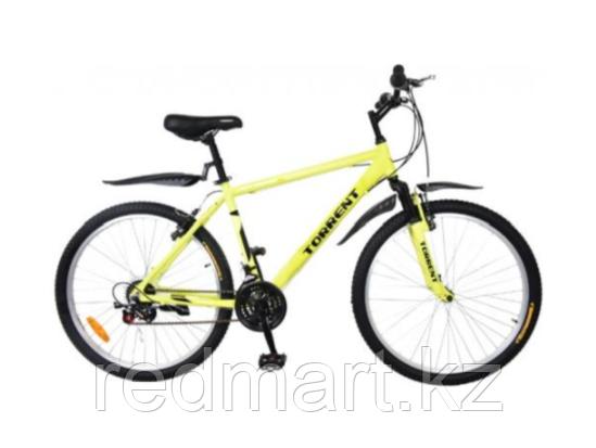 """Велосипед Torrent City Cruiser, внедорожный, 18 скоростей, колеса 26д, рама сталь 18"""",Зеленый/желтый"""