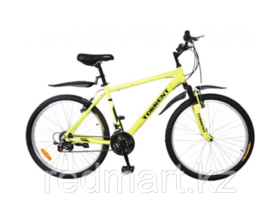 """Велосипед Torrent City Cruiser, внедорожный, 18 скоростей, колеса 26д, рама сталь 18"""",Зеленый/желтый - фото 1"""