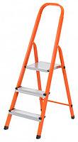 Стремянка, 3 ступени, стальной профиль, ступени сталь, оранжевая, Россия, Сибртех