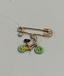Брошь - булавка «велосипед» с бриллиантами