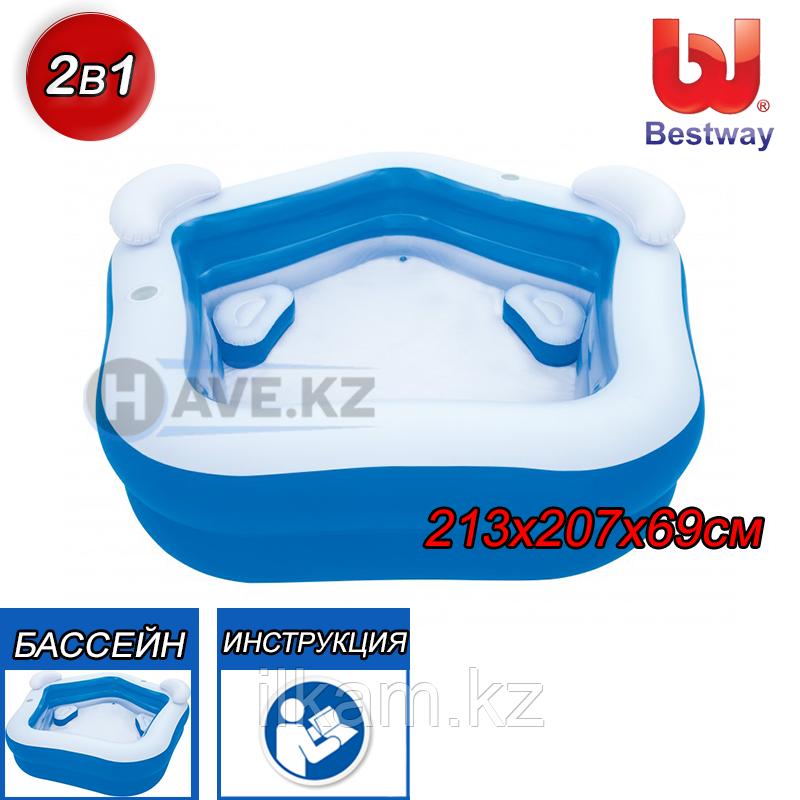 Детский надувной бассейн, Bestway 54153, размер 213х207х69 см