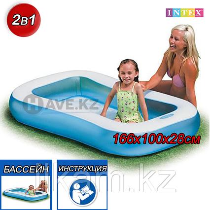 Детский прямоугольный надувной бассейн, Intex 57403, размер 166х100х28 см, фото 2