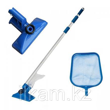 Набор для чистки каркасных, надувных бассейнов, сачок, щетка, ручка, INTEX 28002, фото 2