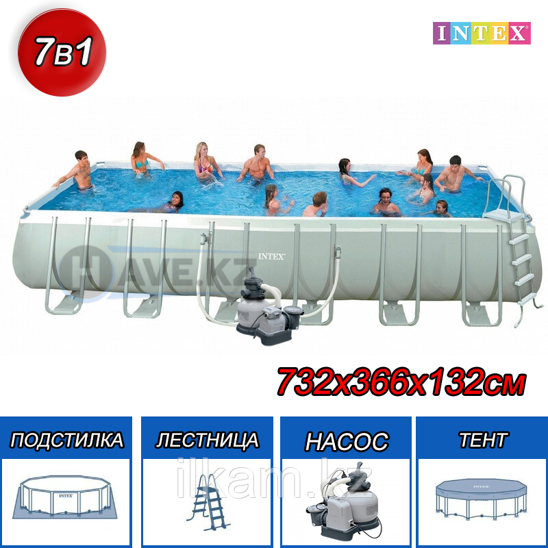 Каркасный бассейн Intex 28362,26364, Ultra Frame Rectangular Pool, размер 732x366x132 см