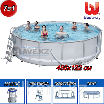Круглый каркасный бассейн, Power Steel, Bestway 56451, размер 488х122 см, фото 2