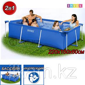 "Прямоугольный каркасный бассейн Intex 28270 (56401) ""Rectangular Frame Pool"" размер 220х150х60 см, фото 2"