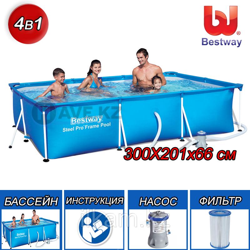Каркасный бассейн Bestway 56411, Steel Pro Frame Pool, размер 300x200x66 см, с фильтром