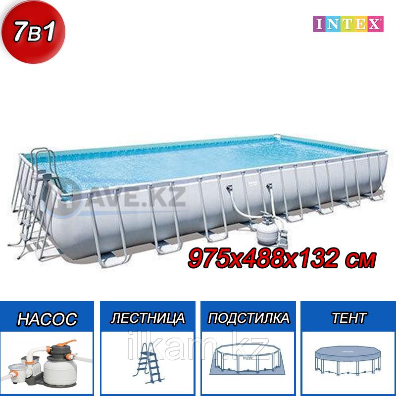 "Прямоугольный каркасный бассейн ""Power Steel Rectangular"" Bestway 56623, размер 956х488х132 см"