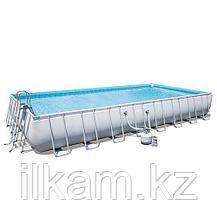 "Прямоугольный каркасный бассейн ""Power Steel Rectangular"" Bestway 56623, размер 956х488х132 см, фото 2"
