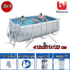 "Каркасный бассейн Bestway 56456, 56241""Power Steel Rectangular"" размер 4.12x2.01x1.22 см, фото 2"