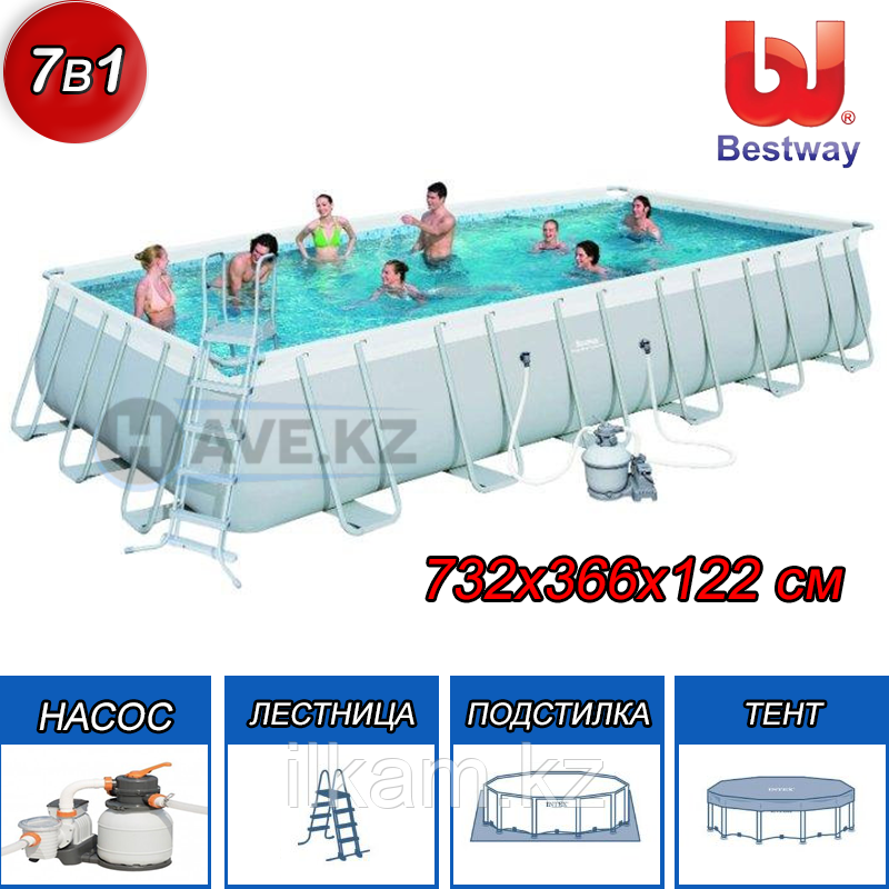 Прямоугольный каркасный бассейн, Power Steel Rectangular, Bestway 56475, размер 732 х 366 х 132 см
