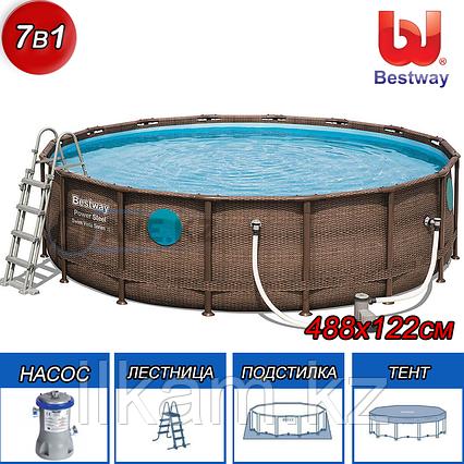 Круглый каркасный бассейн Rattan Power Steel Svim Vista Series, Bestway 56725, размер 488х122 см,, фото 2