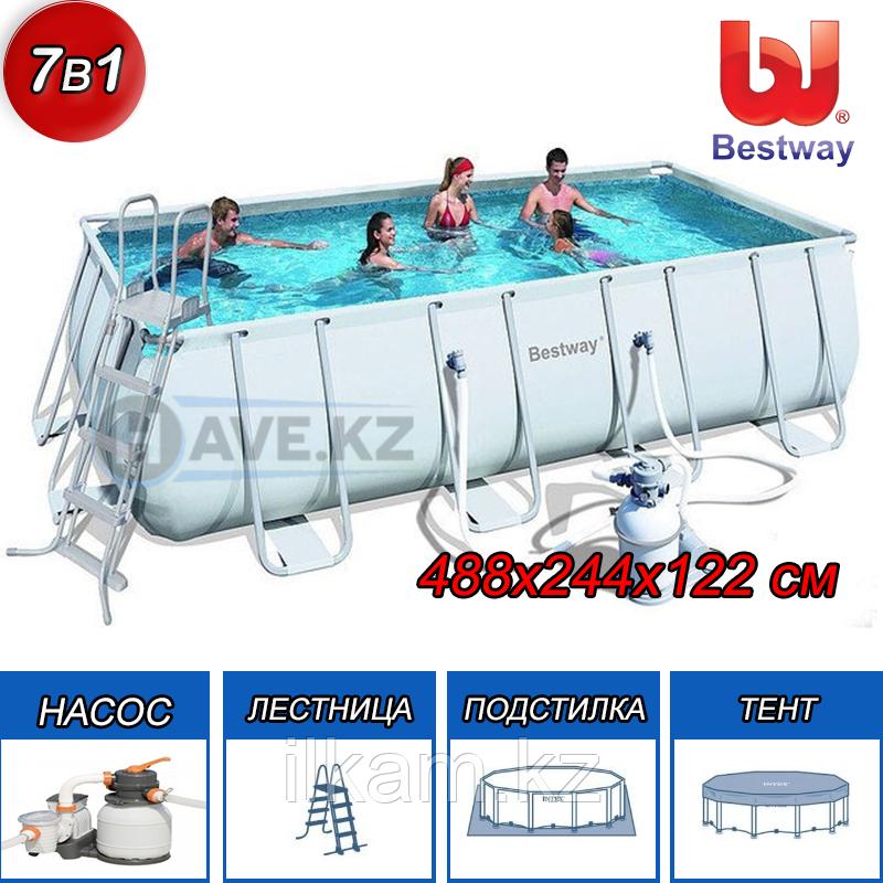 Прямоугольный каркасный бассейн, Power Steel Pool, Bestway 56671, размер 488х244х122 см