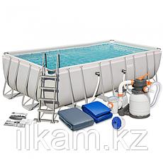 Прямоугольный каркасный бассейн, Power Steel Pool, Bestway 56671, размер 488х244х122 см, фото 3