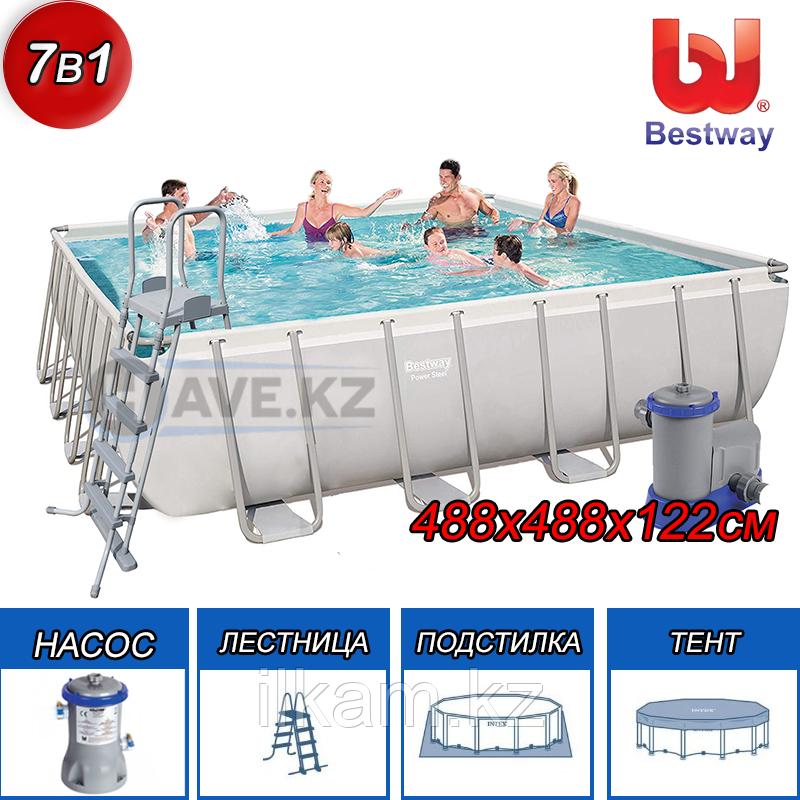 Квадратный каркасный бассейн Power Steel Frame, Bestway 56626, размер 488х488х122 см