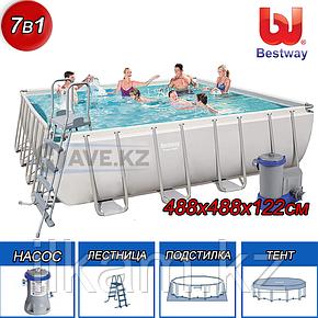 Квадратный каркасный бассейн Power Steel Frame, Bestway 56626, размер 488х488х122 см, фото 2