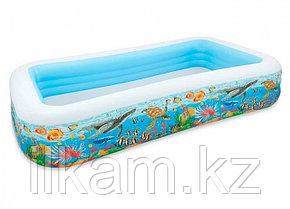 Детский прямоугольный надувной бассейн, Intex 58485, с рыбками, размер 305х183х56 см, фото 2