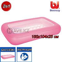 Детский прямоугольный, пляжный надувной бассейн, Bestway 51115, размер 165 х 104 х 25 см