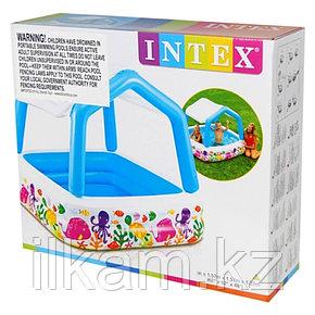 Детский надувной квадратный бассейн с навесом, Intex 57470, размер 157х157х122 см, фото 2