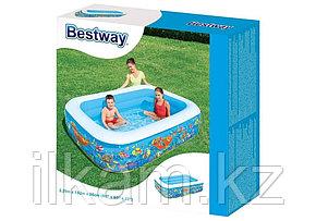 Детский прямоугольный надувной бассейн, Подводный мир, Intex 54120, размер 229х152х56 см, фото 2
