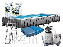 Прямоугольный каркасный бассейн, Ultra Frame Pool, Intex 26378NP, 26378, размер 975х488х132 см, фото 2