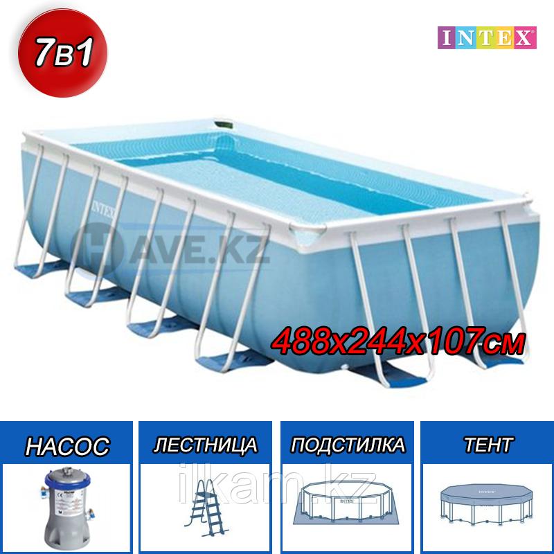 Прямоугольный каркасный бассейн Intex 28318, Ultra Frame Pool, размер 488x244x107 см