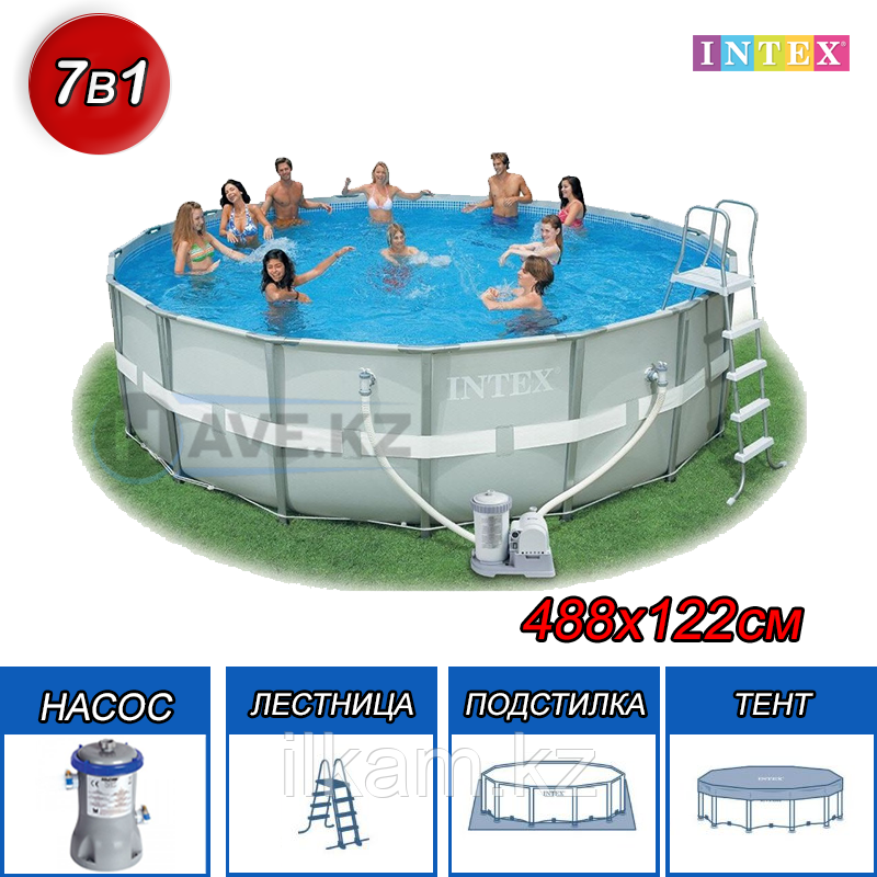 Круглый каркасный бассейн Intex 28322, Ultra Frame Pro Pool, размер 488х122 см