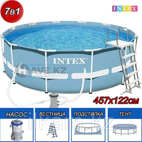Круглый каркасный бассейн, Intex 26726, размер 457х122 см, фильтр производительностью 2.006 л\час, фото 2