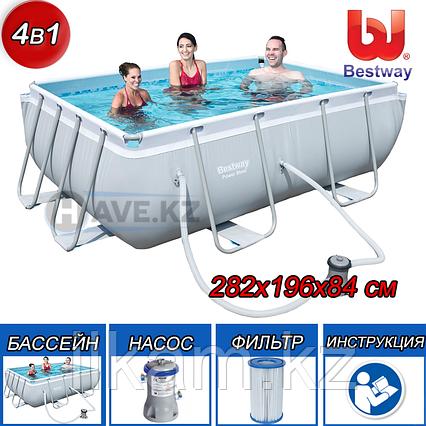 Прямоугольный каркасный бассейн, Power Steel Frame Pool, Bestway 56629, размер 282х196х84 см, фото 2