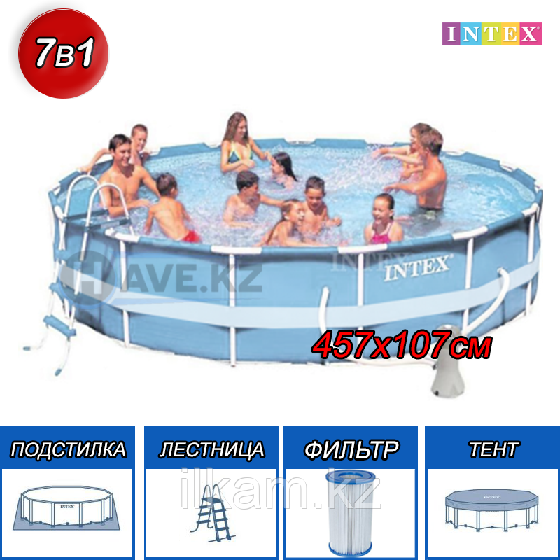 Круглый каркасный бассейн Intex размер 457х107 см