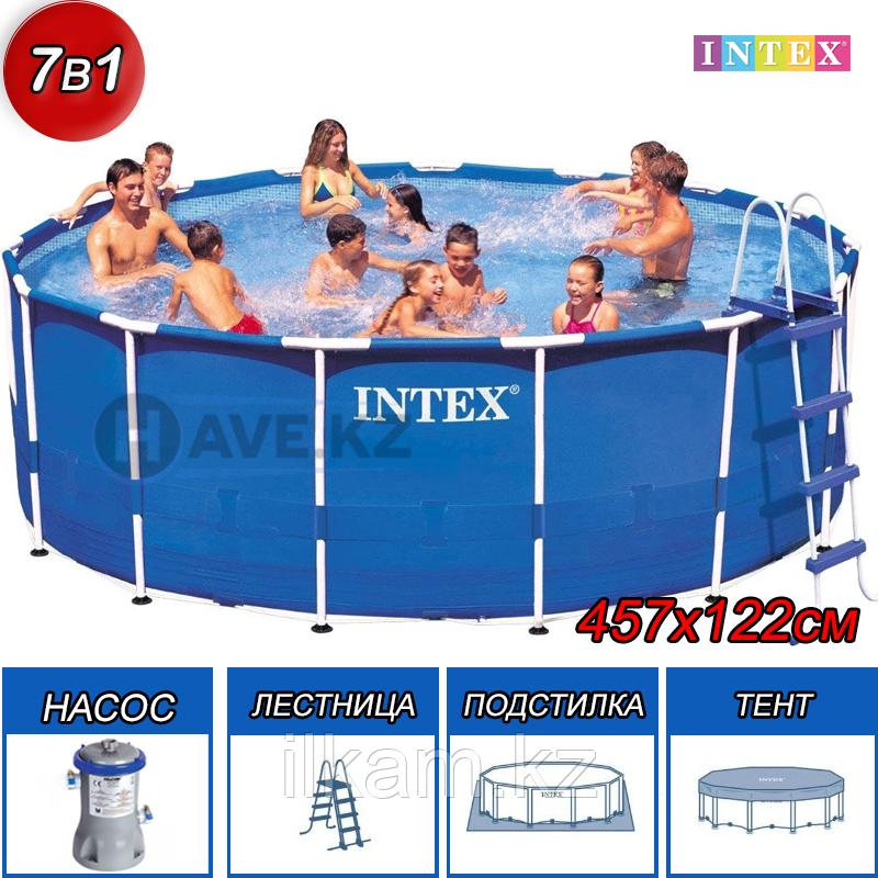 Круглый каркасный бассейн, Metal Frame Pool, Intex 28242, размер 457х122 см