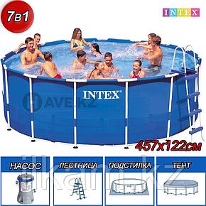 Круглый каркасный бассейн, Metal Frame Pool, Intex 28242, размер 457х122 см, фото 2