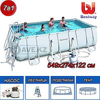 Прямоугольный каркасный бассейн, Power Steel, Bestway 56466, размер 549x274x122см