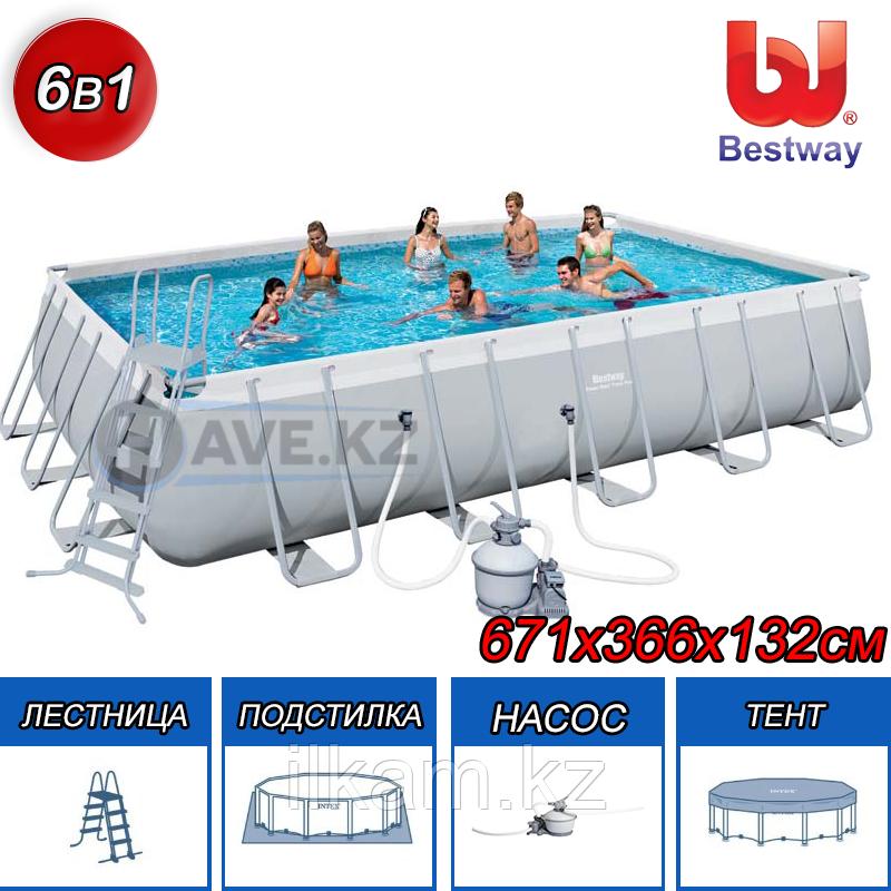 Каркасный бассейн Bestway 56471, Power Steel Rectangular, размер 671х366х132 см
