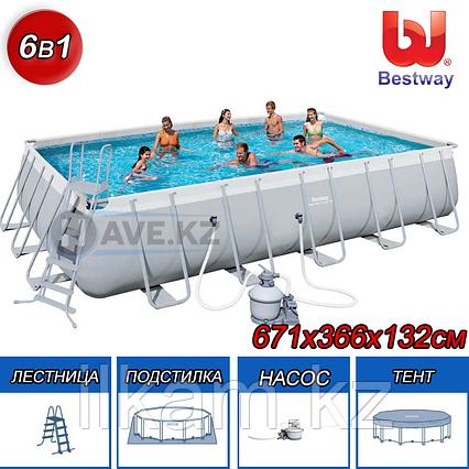 Каркасный бассейн Bestway 56471, Power Steel Rectangular, размер 671х366х132 см, фото 2