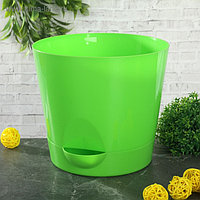 Кашпо с прикорневым поливом «Ника», 2,7 л, цвет ярко-зелёный
