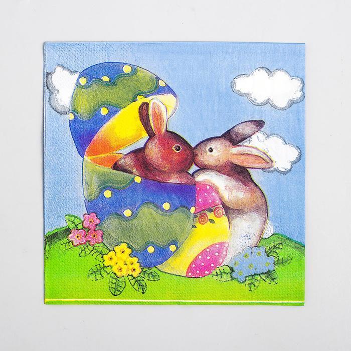 Салфетки бумажные «Пасхальные кролики», набор 20 шт., 33х33 см